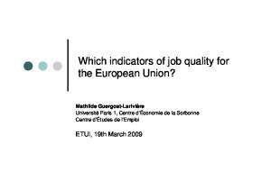 Which indicators of job quality for the European Union?