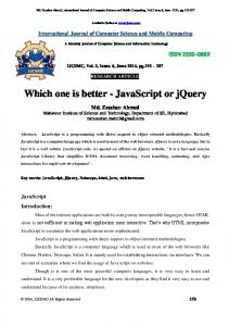 Which one is better - JavaScript or jquery