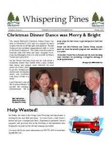 Whispering Pines. Help Wanted! Christmas Dinner Dance was Merry & Bright