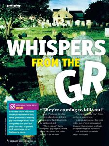 WHISPERS FROM THE. They re coming to kill you. Nonfiction. as you read, THINK ABOUT: GHOSTS