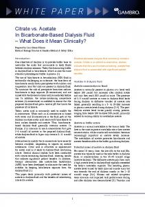 white paper Citrate vs. Acetate In Bicarbonate-Based Dialysis Fluid What Does it Mean Clinically?