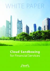 WHITE PAPER. Cloud Sandboxing for Financial Services