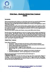 White Paper Monitoring Dialysis Water Treatment Quality