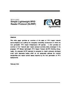 White paper: Simple Lightweight RFID Reader Protocol (SLRRP)
