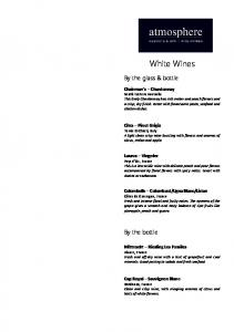 White Wines. By the glass & bottle. By the bottle