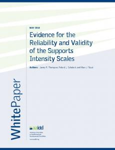 WhitePaper. Evidence for the Reliability and Validity of the Supports Intensity Scales MAY 2018
