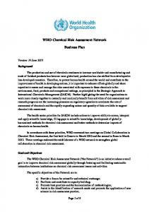 WHO Chemical Risk Assessment Network. Business Plan