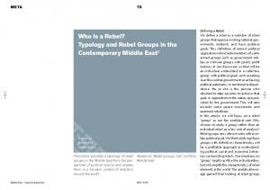 Who Is a Rebel? Typology and Rebel Groups in the Contemporary Middle East 1
