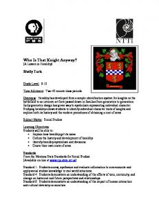 Who Is That Knight Anyway? (A Lesson in Heraldry)