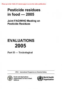 WHO Meeting on Pesticide Residues. Part II Toxicological