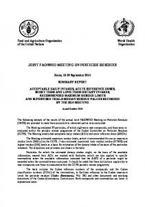WHO MEETING ON PESTICIDE RESIDUES