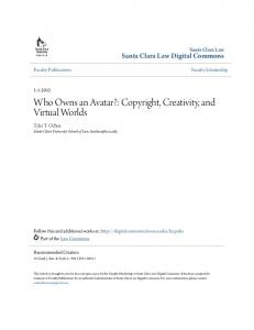 Who Owns an Avatar?: Copyright, Creativity, and Virtual Worlds