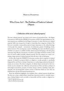Who Owns Art? - The Problem of Trade in Cultural Objects