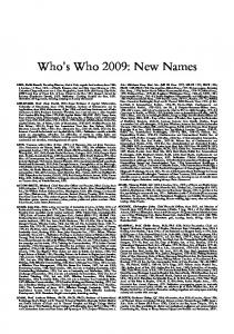 Who s Who 2009: New Names