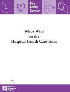 Who s Who on the Hospital Health Care Team #254