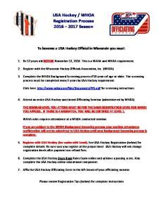 WHOA Registration Process Season