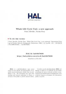 Whole Life Cycle Cost: a new approach