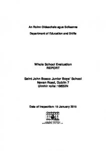 Whole School Evaluation REPORT
