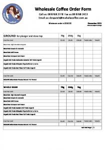 Wholesale Coffee Order Form