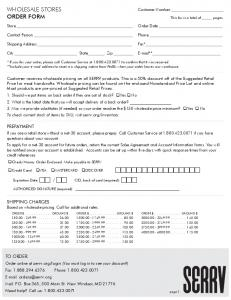 WHOLESALE STORES ORDER FORM