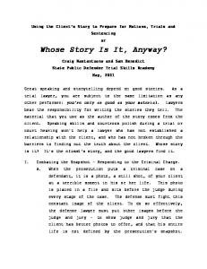Whose Story Is It, Anyway?