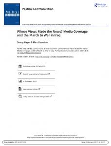 Whose Views Made the News? Media Coverage and the March to War in Iraq