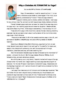 Why a Christian ALTERNATIVE to Yoga?