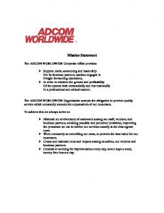 Why Adcom s Mission Statement reflects Reality