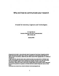 Why and how to communicate your research