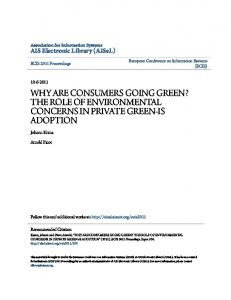 WHY ARE CONSUMERS GOING GREEN? THE ROLE OF ENVIRONMENTAL CONCERNS IN PRIVATE GREEN-IS ADOPTION