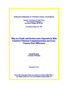 Why are Goods and Services more Expensive in Rich Countries? Demand Complementarities and Cross- Country Price Differences