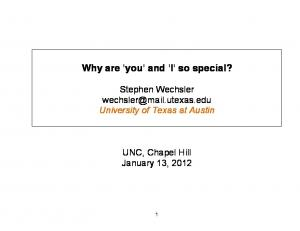 Why are 'you' and 'I' so special?