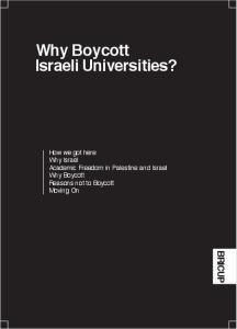 Why Boycott Israeli Universities?