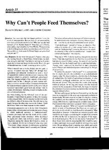 Why Can't People Feed TheInselves?