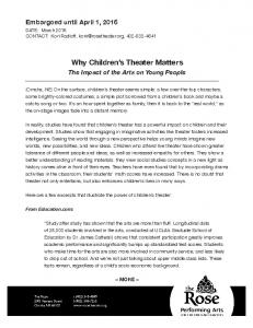 Why Children s Theater Matters