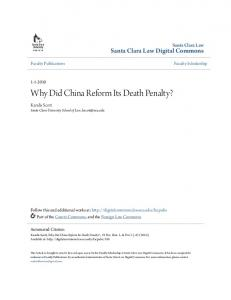 Why Did China Reform Its Death Penalty?
