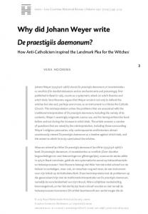 Why did Johann Weyer write