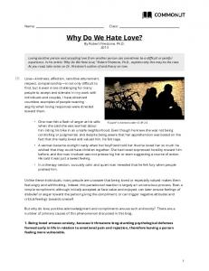 Why Do We Hate Love? By Robert Firestone, Ph.D. 2013