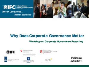 Why Does Corporate Governance Matter
