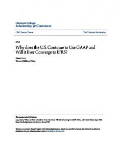 Why does the U.S. Continue to Use GAAP and Will it Ever Converge to IFRS?