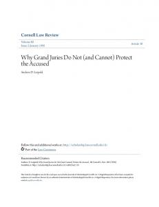 Why Grand Juries Do Not (and Cannot) Protect the Accused