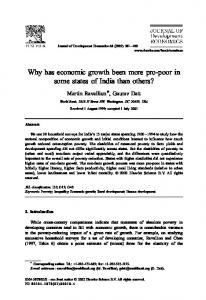 Why has economic growth been more pro-poor in some states of India than others?