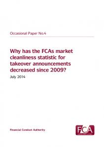 Why has the FCAs market cleanliness statistic for takeover announcements decreased since 2009?