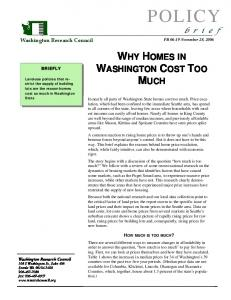 WHY HOMES IN WASHINGTON COST TOO MUCH