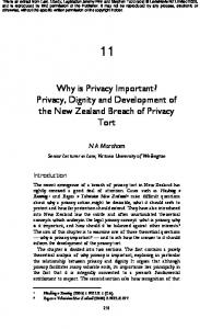 Why is Privacy Important? Privacy, Dignity and Development of the New Zealand Breach of Privacy Tort