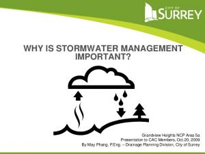 WHY IS STORMWATER MANAGEMENT IMPORTANT?