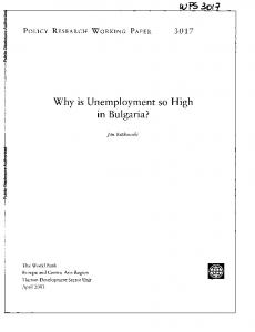 Why is Unemployment so High in Bulgaria?