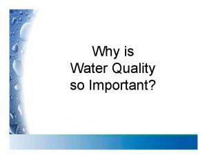Why is Water Quality so Important?