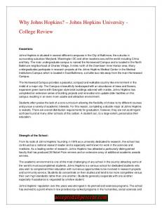 Why Johns Hopkins? Johns Hopkins University - College Review