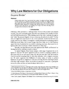 Why Law Matters for Our Obligations